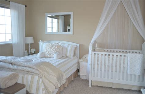 crib in bedroom soft neutral nursery and guest bedroom the little umbrella