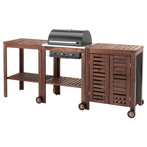 Portable Island For Kitchen 196 pplar 214 klasen charcoal barbecue w trolley cabinet brown