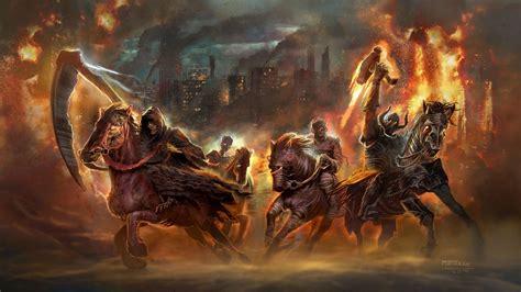 wallpaper fantasy art apocalyptic horse war fire
