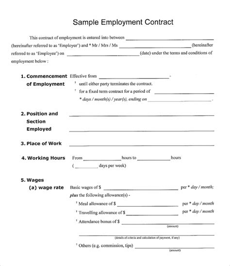 work contracts templates employment contract 9 documents in pdf doc