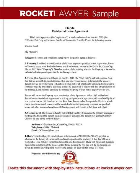 florida lease agreement template florida lease agreement