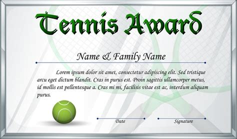 tennis certificate template free certificate template for tennis award stock vector