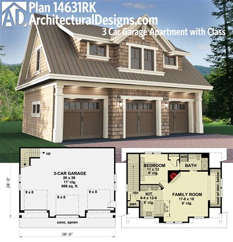 home garage plans plan 14631rk 3 car garage apartment with class carriage