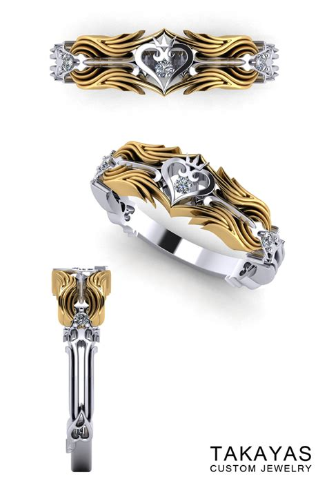 Wedding Rings With Hearts by Kingdom Hearts Inspired Wedding Rings Takayas Custom Jewelry