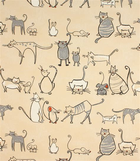 Cat Upholstery Fabric by Cat Mouse Fabric Charcoal Just Fabrics