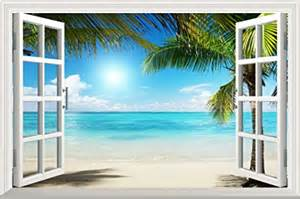 Window Wall Mural White Sand Beach Palm Tree Open Window Mural Bed Room Wall