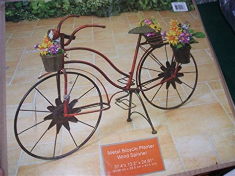 bicycle wind spinner with solar light gerson decorative bicycle planter with wind spinner