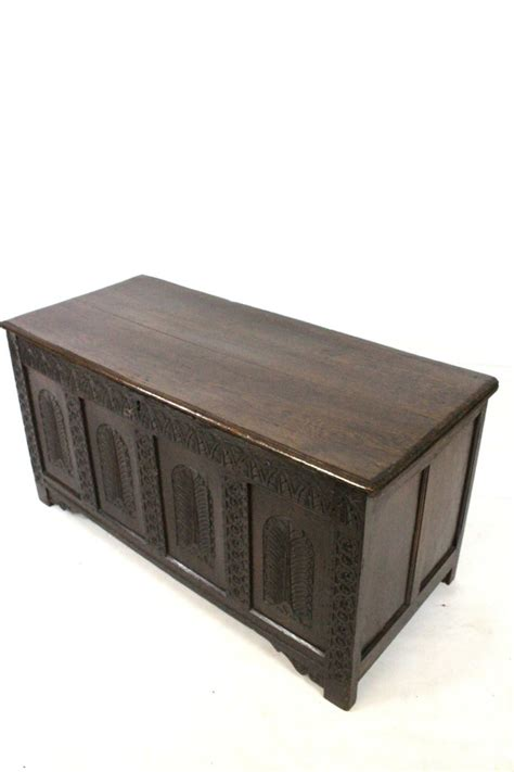 blanket boxes ottomans antique 18thc oak carved coffer blanket box ottoman chest