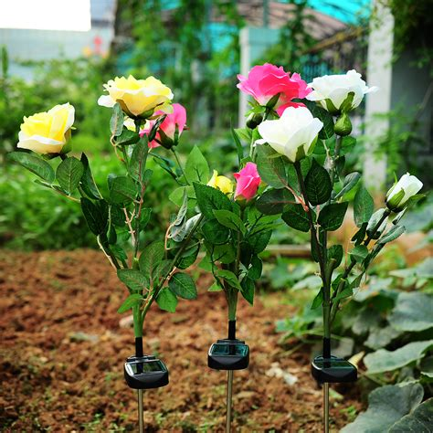 flower solar stake lights solar powered 3 led rose flower stake garden light