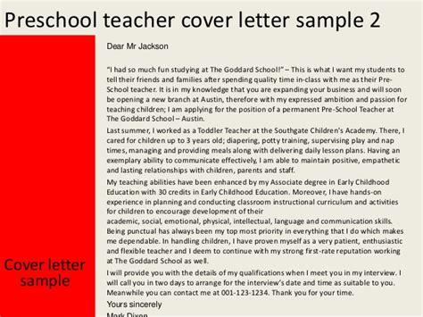 Kindergarten Resume Cover Letter preschool cover letter