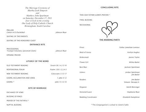 catholic ceremony program template catholic wedding program template free beepmunk
