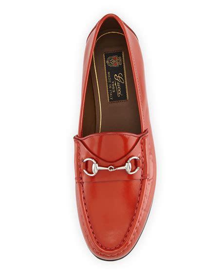 gucci pebbled leather horsebit loafer gucci 1953 horsebit leather loafer orange