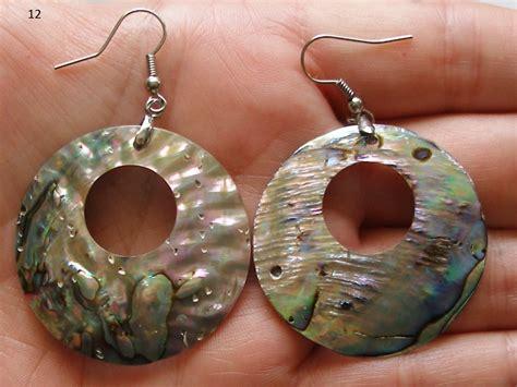 Handmade Shell Earrings - handmade abalone shell earrings colorful iridescent discs