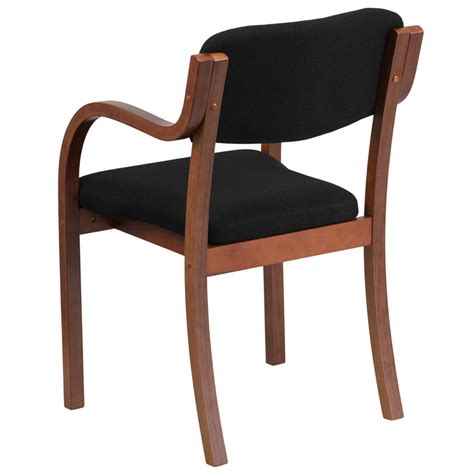 Side Chairs With Arms Contemporary Walnut Wood Side Reception Chair With Arms