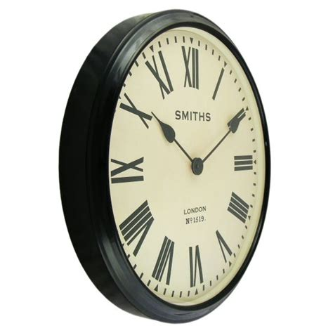 large wall clock smiths clocks large station wall clock black roman numerals