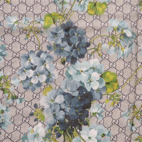 flower pattern gucci gucci silk modal gg blooms scarf blue 203998
