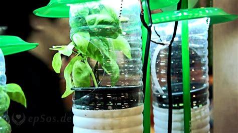 hydroponic farming system  plastic bottles  led