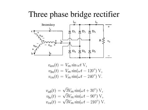 three phase diode bridge rectifier ppt diodes with rl loads freewheeling powerpoint presentation id 754286