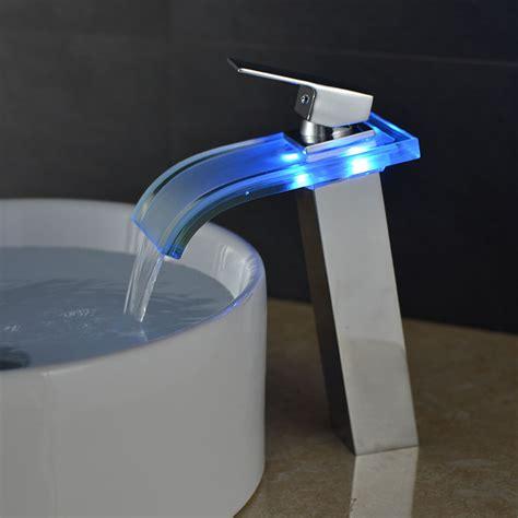 Led Bathroom Sink Faucet by Led Waterfall Water Flow Brushed Nickel Bathroom Sink