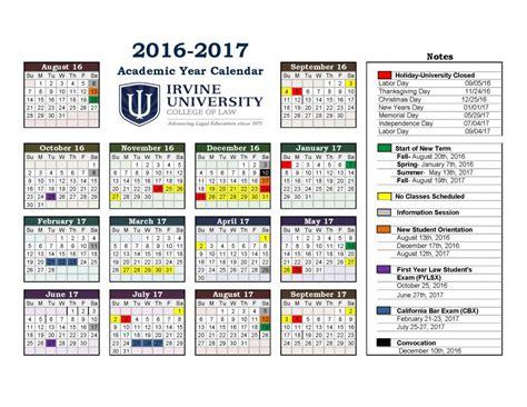 2016 Through 2017 Calendar Irvine Academic Calendar For Irvine College Of