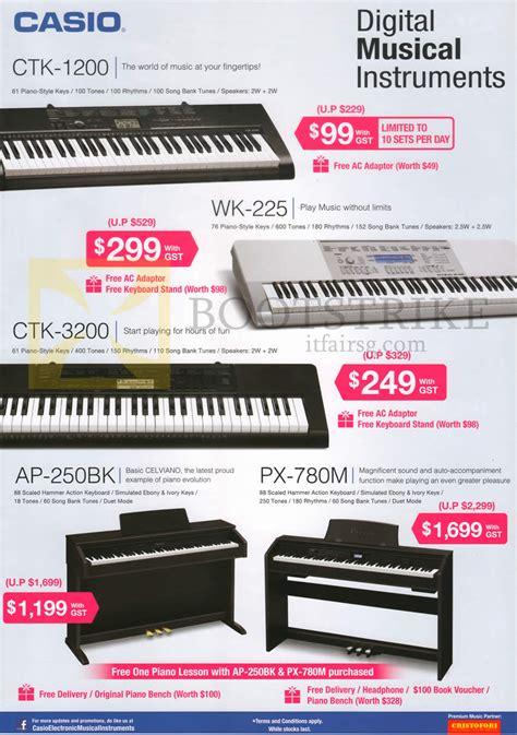 Keyboard Casio Wk 225 casio keyboards ctk 1200 ctk 3200 wk 225 px 780m ap 250bk comex 2014 price list brochure