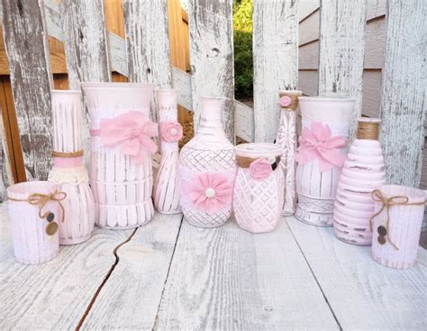 shabby chic vases wedding shabby chic wedding vases set pink and white lace by