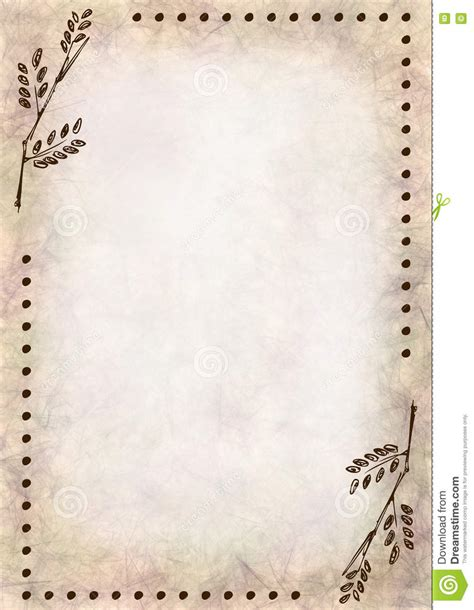 Hand Drawn Textured Floral Background Crumpled Paper With Leaves Vintage Template For Letter Or Free Letter Background Template