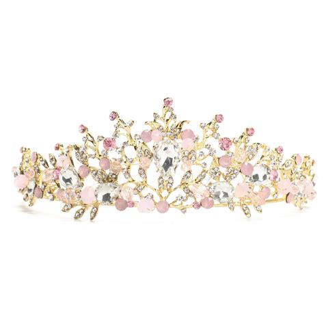 Wedding Crown Earring pink wedding bridal jewelry tiara crown headband