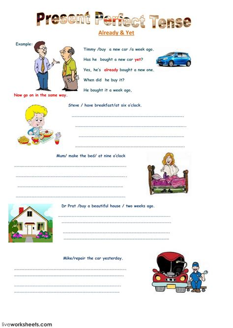 Open Sans Light Present Perfect Tense Interactive Worksheet