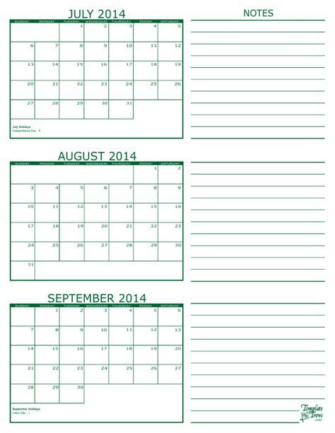 August Calendar 2014 3 Month Calendar 2014