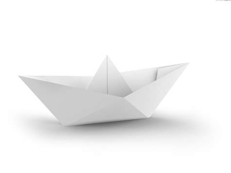 Boat From Paper - white and blue paper boats psdgraphics