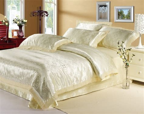 satin bedding sets luxury classic europe beige white pink jacquard satin