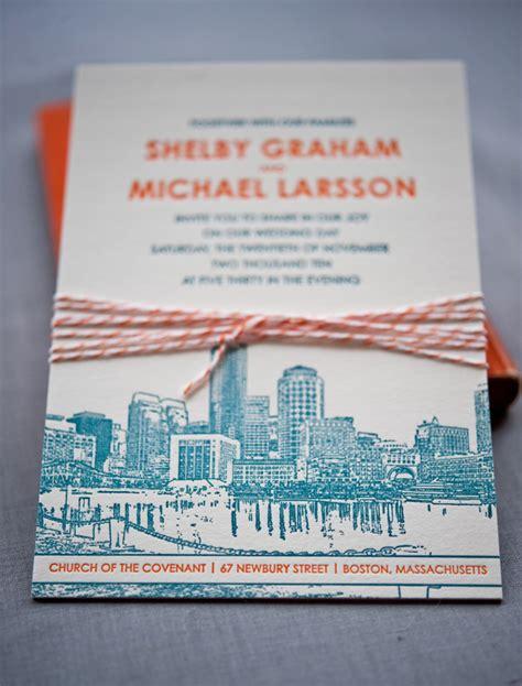 letterpress wedding invitations boston shelby mike s modern illustrated boston wedding invitations