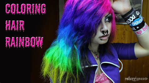 rainbow hair coloring pink purple blue turquoise