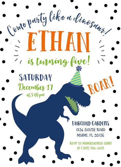 Free Printable Dinosaur Birthday Invitations