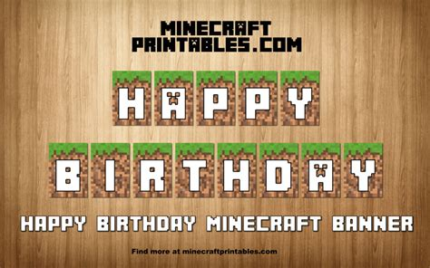 free printable minecraft alphabet letters birthday banner printable minecraft happy birthday banner