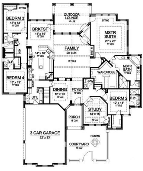 Garage Floor Plans With Bonus Room by Plan 36226tx One Story Luxury With Bonus Room Above