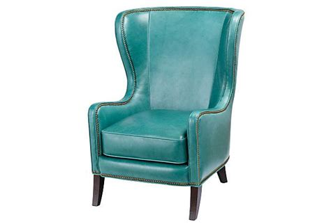turquoise leather chair dempsey leather wing chair turquoise
