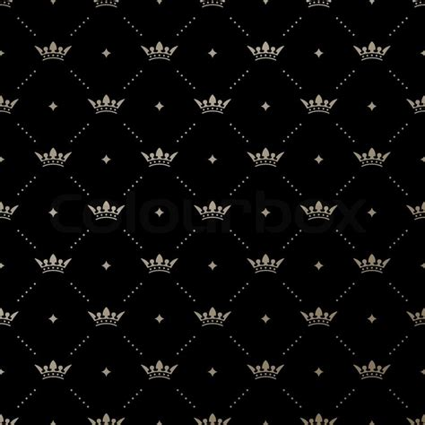cing background seamless vector gold pattern with king crowns on a black