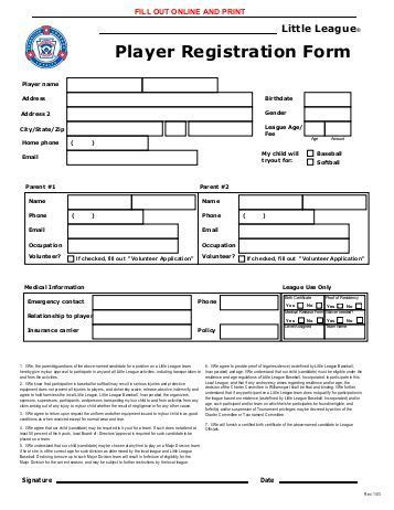 player registration form template team player registration forms louisiana youth sports