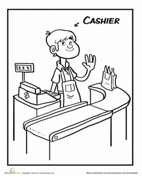 printable coloring pages grocery store color the cool cashier worksheet education