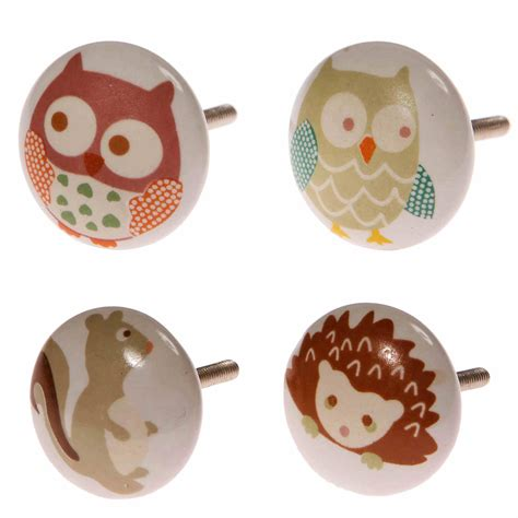 owls painted ceramic door knobs childrens nursery bedroom