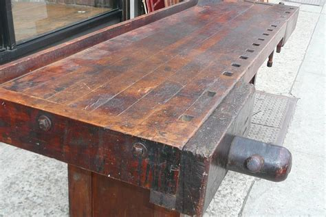 industrial cabinet maker s workbench attributed to