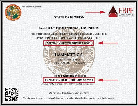 revised pe license   number   florida board  professional engineers