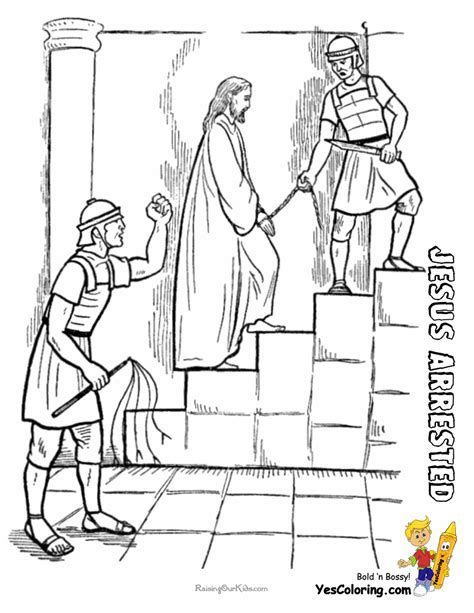 Jesus Arrested Coloring Sheet At Yescoloring Http Www