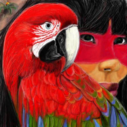 arara vermelha de asa verde desenho de bruxcha gartic
