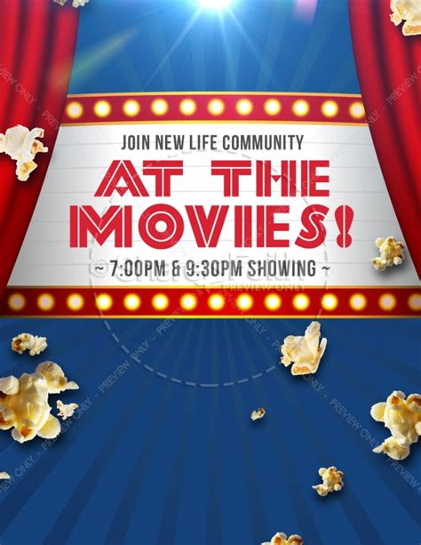 at the movies church night ministry flyer template flyer