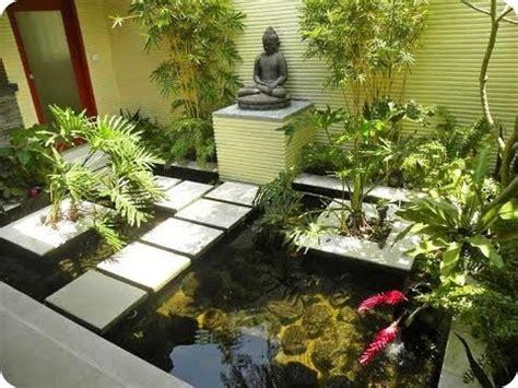 kombinasi taman  kolam ikan rumah moderen   youtube