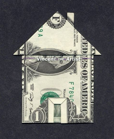 Origami 1 Dollar Bill - money origami house w chimney front door dollar bill