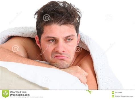 bed man depressed man lying in bed stock photo image of thought